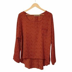 Liberty Love Rust High Low Button Back Blouse